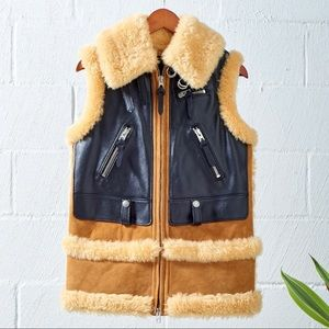 Coach shearling & leather Moto Vest